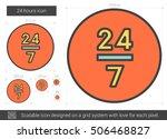 24 hours vector line icon... | Shutterstock .eps vector #506468827