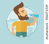 Sportive hipster man with the beard drinking water. Man with bottle of water in the gym. Sportsman drinking water from the bottle. Vector flat design illustration in the circle isolated on background. | Shutterstock vector #506471539