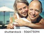 couple beach cheerful summer... | Shutterstock . vector #506475094