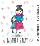 happy mother's day card with... | Shutterstock .eps vector #506483875