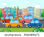 scene with many cars on road... | Shutterstock .eps vector #506489671