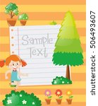 paper design with girl in... | Shutterstock .eps vector #506493607