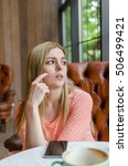 young woman with a coffee and... | Shutterstock . vector #506499421