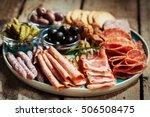charcuterie assortment  olives... | Shutterstock . vector #506508475