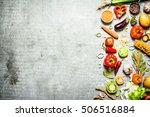 organic food. fresh slices of... | Shutterstock . vector #506516884