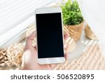 mobile  smartphone with black... | Shutterstock . vector #506520895