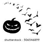 pumpkin and bats   Shutterstock .eps vector #506546899