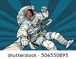 woman astronaut african... | Shutterstock .eps vector #506550895