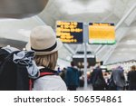 woman hiker traveling with... | Shutterstock . vector #506554861
