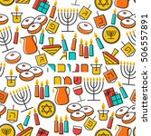 hanukkah seamless pattern.... | Shutterstock .eps vector #506557891