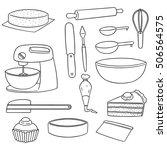 vector set of cake making... | Shutterstock .eps vector #506564575