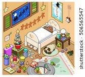 gingerbread man sleeps in his... | Shutterstock .eps vector #506565547