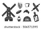 vector vintage bakery symbols... | Shutterstock .eps vector #506571595