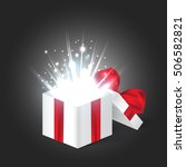 opened realistic gift box with... | Shutterstock .eps vector #506582821