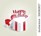opened realistic gift box with... | Shutterstock .eps vector #506582827