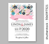 wedding invitation or card with ... | Shutterstock .eps vector #506597521