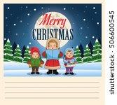 singing cartoon of christmas... | Shutterstock .eps vector #506600545