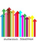 overlapping coloured arrows... | Shutterstock .eps vector #506609464