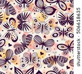 seamless pattern with... | Shutterstock .eps vector #506618635