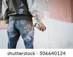 graffiti artist with aerosol... | Shutterstock . vector #506640124