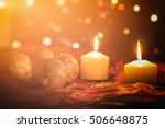 white candles on a dark... | Shutterstock . vector #506648875