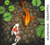 Carps Koi Fish Underwater Pond...