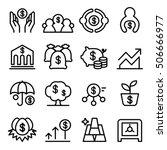 saving money icon set in thin...   Shutterstock .eps vector #506666977