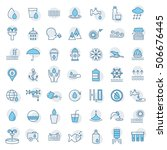 water icon set in thin line... | Shutterstock .eps vector #506676445