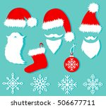 christmas set in flat style.... | Shutterstock .eps vector #506677711