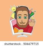 beard man character sticker... | Shutterstock .eps vector #506679715