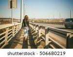 Girl Goes On Road Bridge....