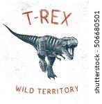 dinosaur t rex running.hand... | Shutterstock .eps vector #506680501