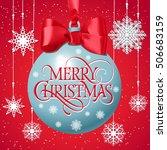 merry christmas lettering on... | Shutterstock .eps vector #506683159