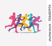 running people set of... | Shutterstock .eps vector #506683954