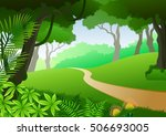 card with tropical forest... | Shutterstock . vector #506693005