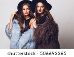 close up portrait of two ... | Shutterstock . vector #506693365