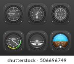 flight instrument on a black... | Shutterstock .eps vector #506696749