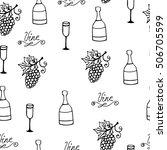 wine seamless pattern. bottle... | Shutterstock .eps vector #506705599