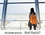 traveler woman is standing near ... | Shutterstock . vector #506706037