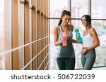 two beautiful girls in the gym... | Shutterstock . vector #506722039