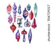 watercolor hand drawn... | Shutterstock . vector #506729317