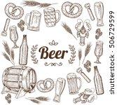 beer background. sketch style... | Shutterstock . vector #506729599