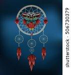 owl in dreamcatcher. vector... | Shutterstock .eps vector #506730379