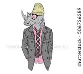 Hipster Rhino Dressed Up In...