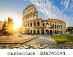 Colosseum In Rome And Morning...