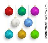 set of christmas balls on white ... | Shutterstock .eps vector #506749474