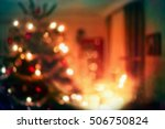 christmas home room with tree... | Shutterstock . vector #506750824