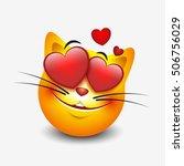 cute feeling in love cat... | Shutterstock .eps vector #506756029
