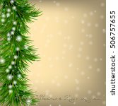 golden christmas and new year... | Shutterstock . vector #506757655