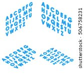 font isometric set 3d vector... | Shutterstock .eps vector #506758231
